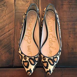 Sam Edelman Rae Leopard Pointed Toe Flat s 9.5